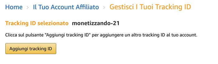 Tracking ID Affiliazione Amazon