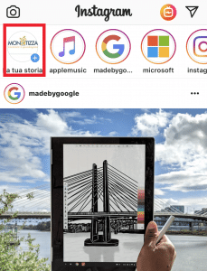 Home page di Instagram: come fare una stories