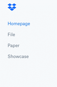 Homepage di Dropbox, colonna a sinistra