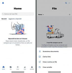 Due schermate dell'app di Dropbox