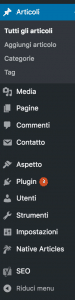 Colonna dashboard di WordPress