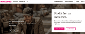 Home Page di Indiegogo