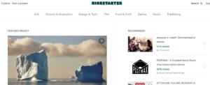 Home Page di Kickstarter