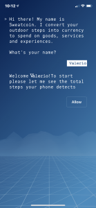 SweatCoin, schermata di controllo