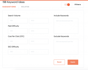 Keywords Ideas, filtri