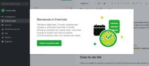 Pannello di controllo Evernote