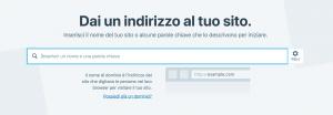 Schermata per l'indirizzo del sito WordPress