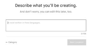 Impostazioni campagna Kickstarter: descrizione