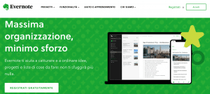 Home page di Evernote