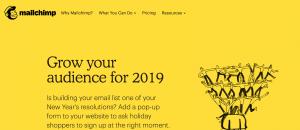 Homepage di Mailchimp