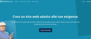 Schermata Crea sito di WordPress
