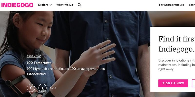 Homepage IndieGogo
