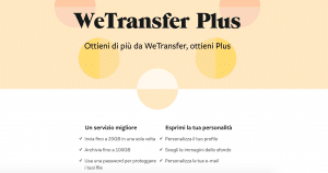 Schermata WeTransfer Plus