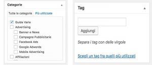 Tag e categorie con WordPress