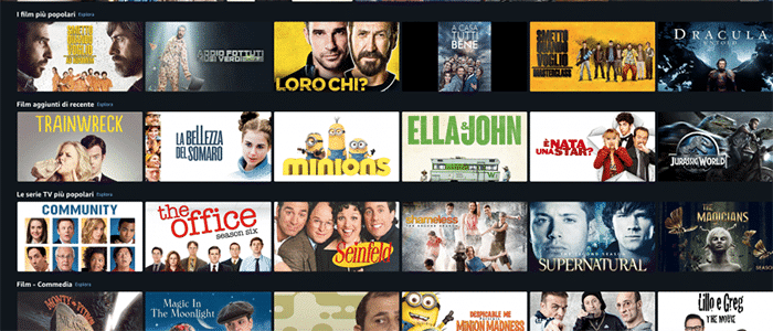Amazon Prime, esempi di Categorie