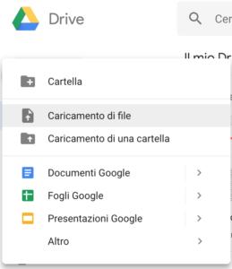 Caricamento File Google Drive/Google Docs