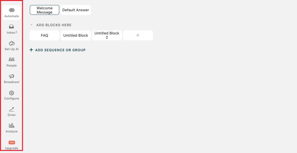 Colonna Sezioni Dashboard Chatfuel