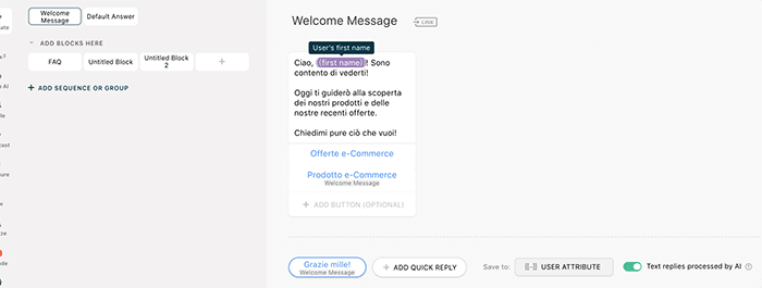 Creare Welcome Message Chatfuel