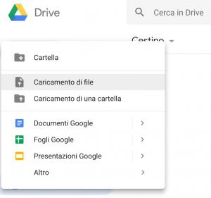 Funzioni Pulsante Nuovo Google Drive