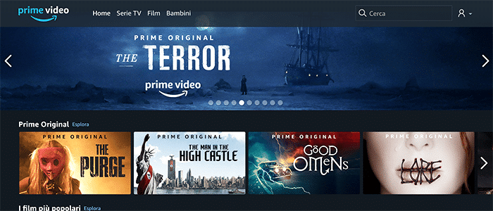Homepage di Amazon Prime Video