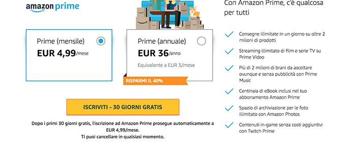 Prezzi Amazon Prime Italia