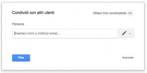 """Casella """"Condividi con altri utenti"""" Google Docs"""