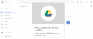 Schermata accesso Google Drive