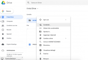 Condivisione file/cartella di Google Drive