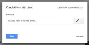 Schermata Condivisione Google Drive