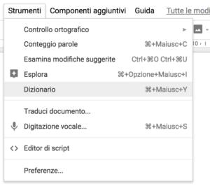 """Strumenti"" di Google Docs"