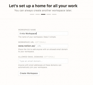Impostazioni Workspace di Notion