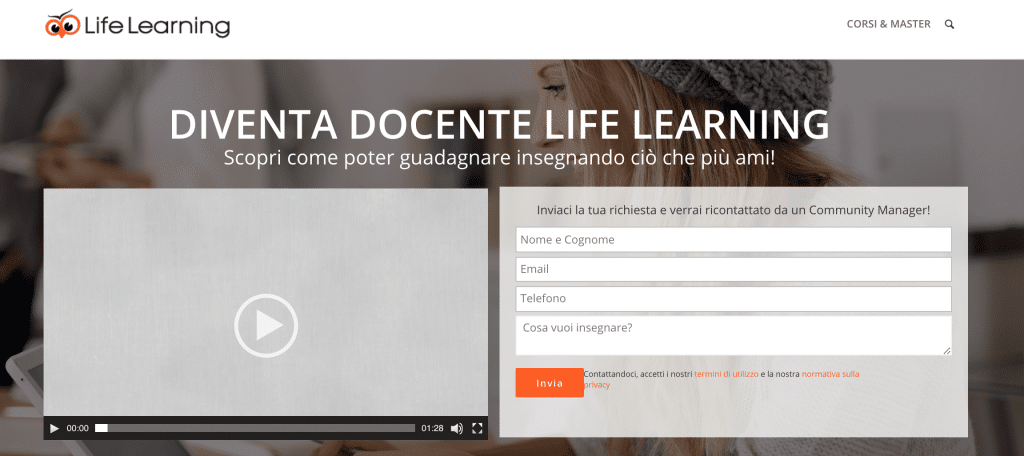 "Pagina ""Diventa Docente"" Life Learning"
