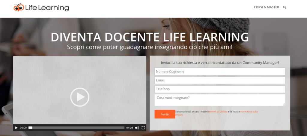 "Pagina ""Diventa Docente"" Life Learning"