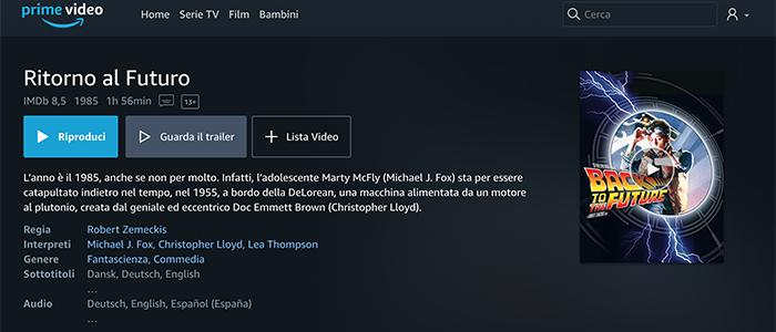 Schermata Informazioni Film Amazon Prime