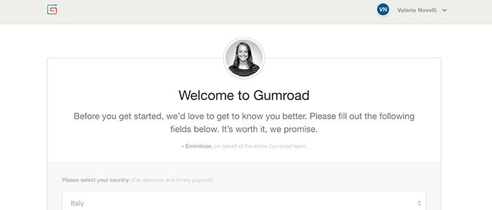 Schermata di benvenuto Gumroad