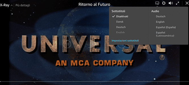 Schermata opzioni film:serie tv Amazon Prime Video