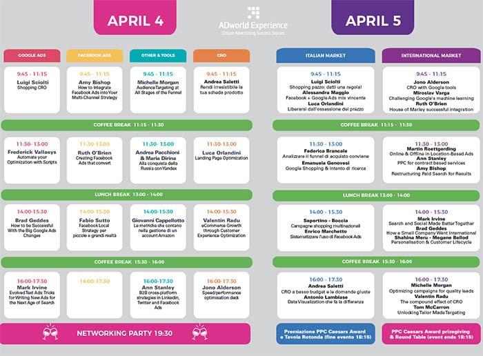 Programma AdWorld Experience 2019
