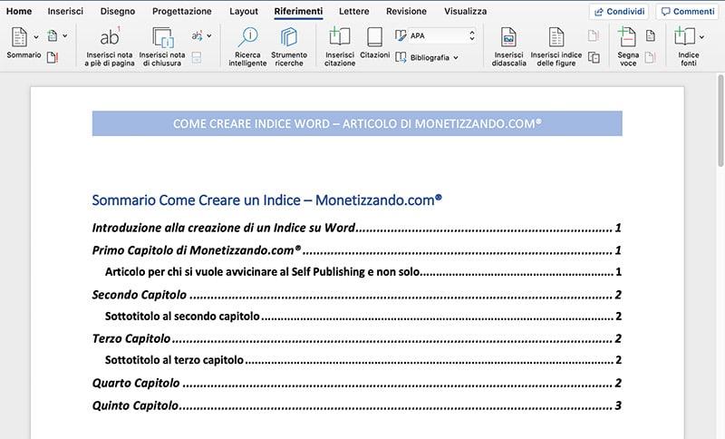 Come Creare Indice Word e OpenOffice