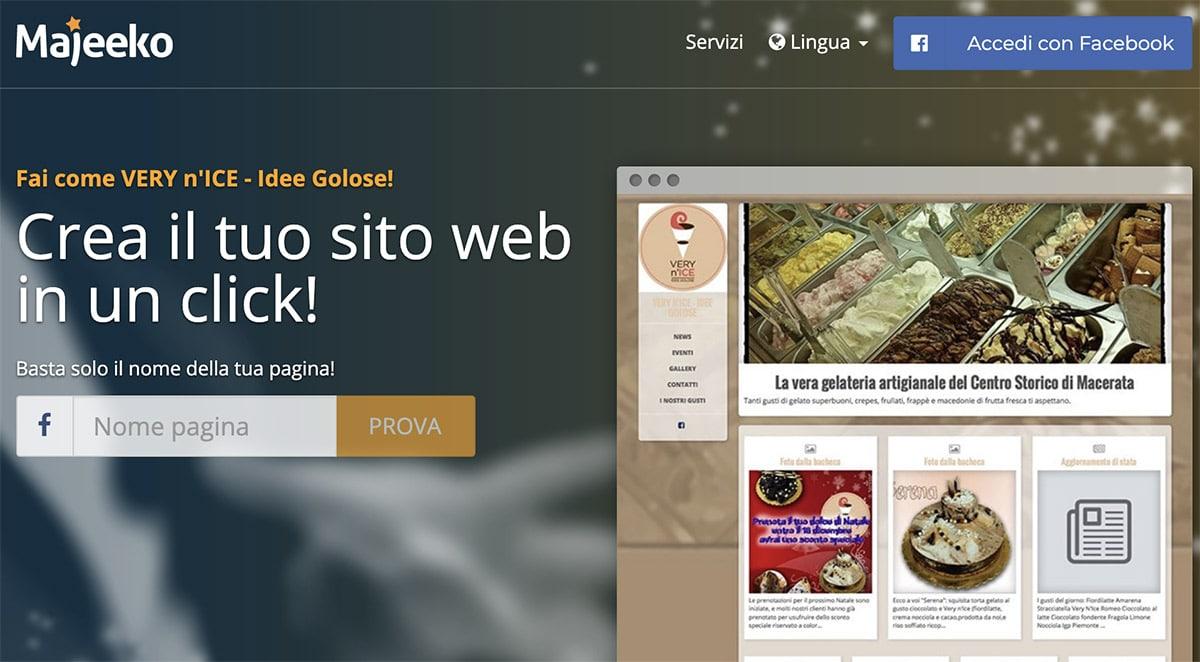 Creare Sito Web da Pagina Facebook: Majeeko?