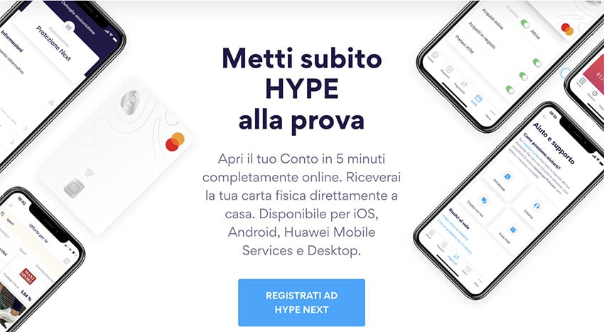 Carta HYPE Next Registrazione
