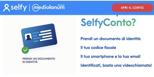 Screenshot Mediolanum Aprire Selfy Conto