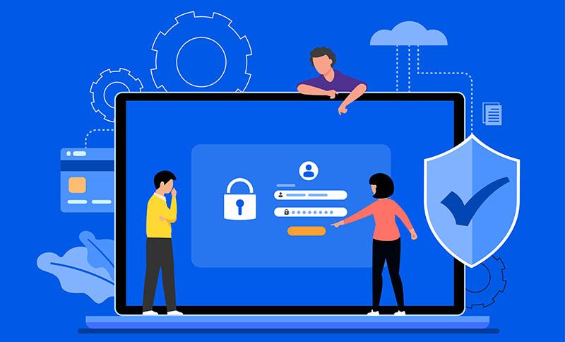 computer e schermata di accesso area riservata con password