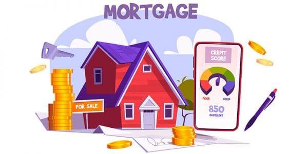 vignetta di casa, soldi e contratto per comprare casa