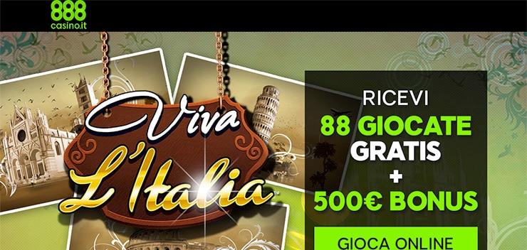 Bonus 888 Casino: 88 Giocate Gratuite - Viva l'Italia 2015