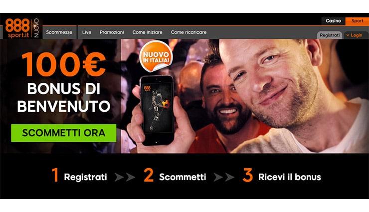 Scommesse Sportive 888: Bonus Benvenuto 100€