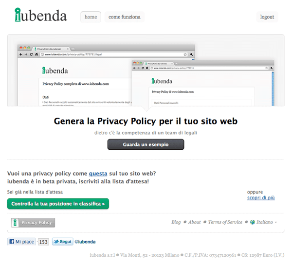 Iubenda Privacy Policy Sito Internet