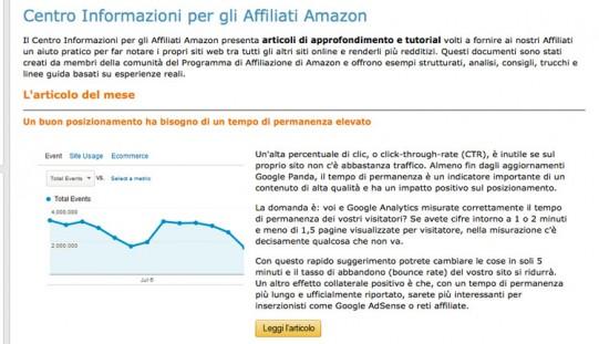 Affiliazione Amazon: Lanciato il Centro Informazioni Affiliati