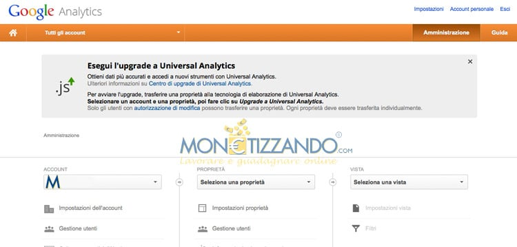 Come eliminare un sito internet dall'account Google Analytics?