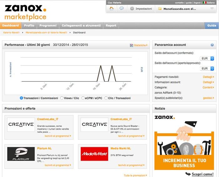 Affiliazione Zanox: Come funziona? Dashboard