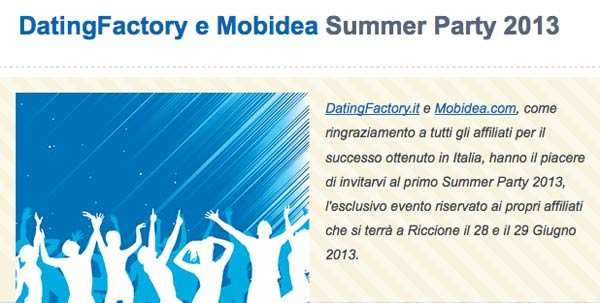 Affiliazione Siti di Incontri White Label: DatingFactory e Mobidea Summer Party 2013